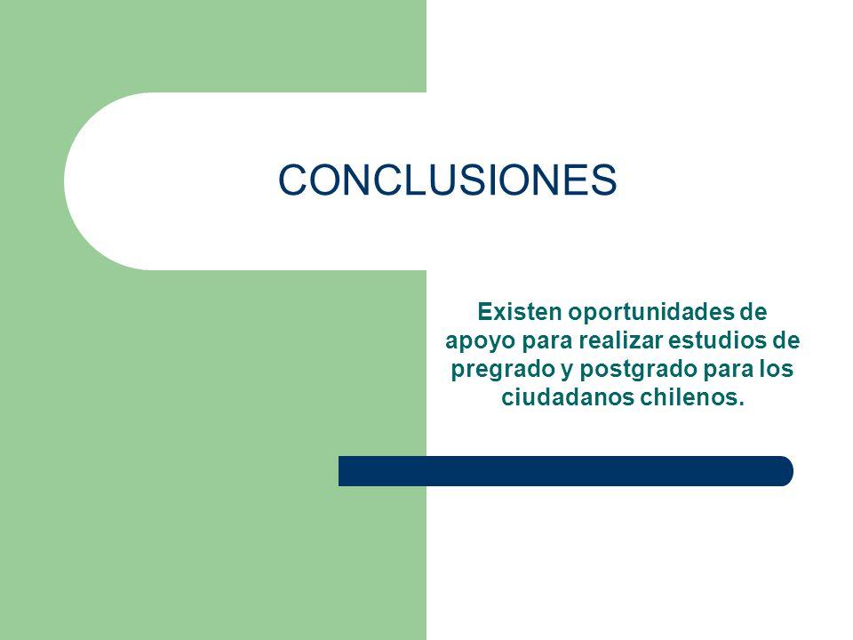 CONCLUSIONES Existen oportunidades de apoyo para realizar estudios de pregrado y postgrado para los ciudadanos chilenos.