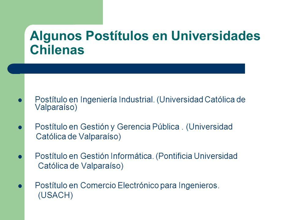 Algunos Postítulos en Universidades Chilenas