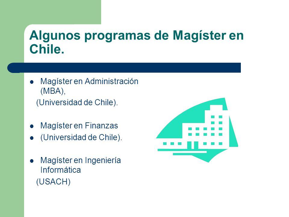 Algunos programas de Magíster en Chile.