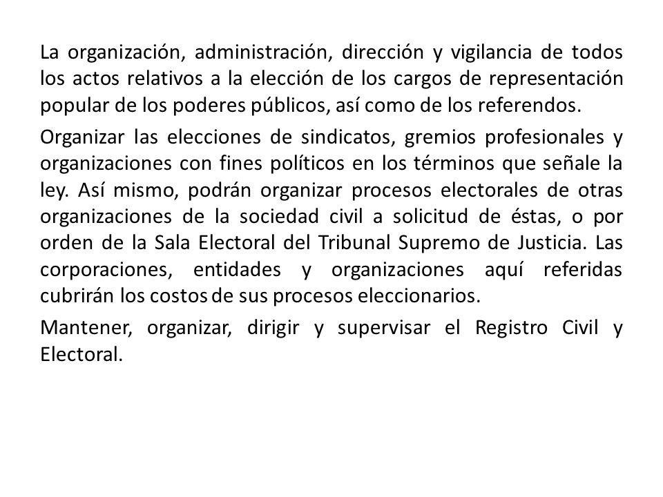 La organización, administración, dirección y vigilancia de todos los actos relativos a la elección de los cargos de representación popular de los poderes públicos, así como de los referendos.