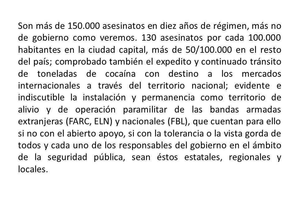 Son más de 150.000 asesinatos en diez años de régimen, más no de gobierno como veremos.