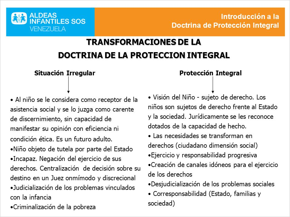 TRANSFORMACIONES DE LA DOCTRINA DE LA PROTECCION INTEGRAL