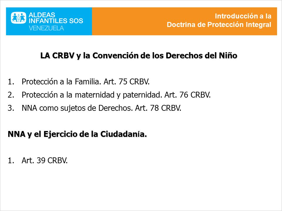 LA CRBV y la Convención de los Derechos del Niño