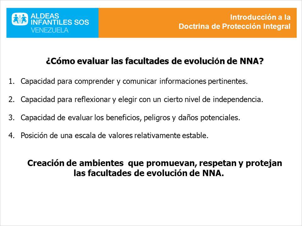 ¿Cómo evaluar las facultades de evolución de NNA
