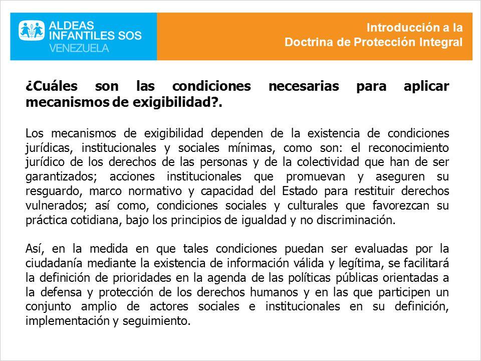 Introducción a la Doctrina de Protección Integral. ¿Cuáles son las condiciones necesarias para aplicar mecanismos de exigibilidad .