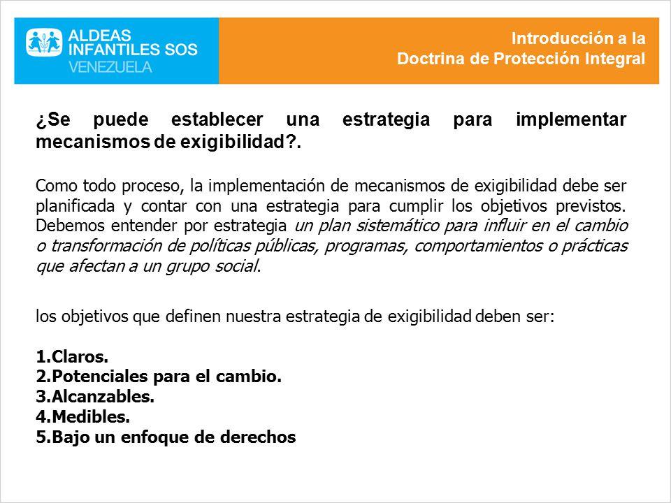 Introducción a la Doctrina de Protección Integral. ¿Se puede establecer una estrategia para implementar mecanismos de exigibilidad .