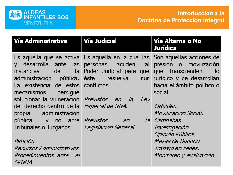 Introducción a la Doctrina de Protección Integral. Vía Administrativa. Vía Judicial. Vía Alterna o No Jurídica.