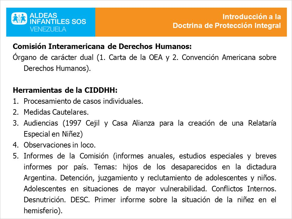 Introducción a la Doctrina de Protección Integral. Comisión Interamericana de Derechos Humanos: