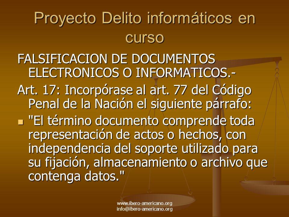 Proyecto Delito informáticos en curso