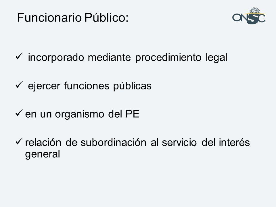 Funcionario Público: incorporado mediante procedimiento legal