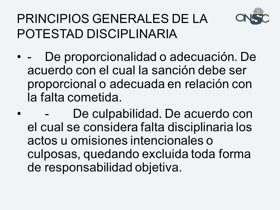 PRINCIPIOS GENERALES DE LA POTESTAD DISCIPLINARIA