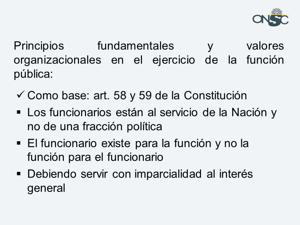 Principios fundamentales y valores organizacionales en el ejercicio de la función pública:
