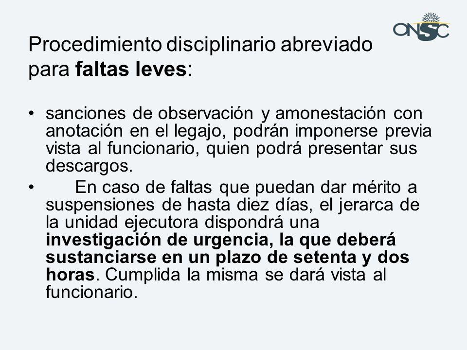 Procedimiento disciplinario abreviado para faltas leves:
