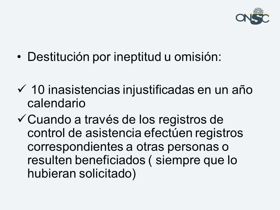 Destitución por ineptitud u omisión: