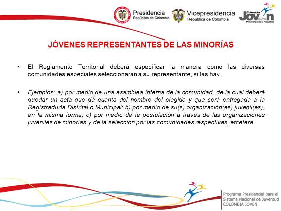 JÓVENES REPRESENTANTES DE LAS MINORÍAS
