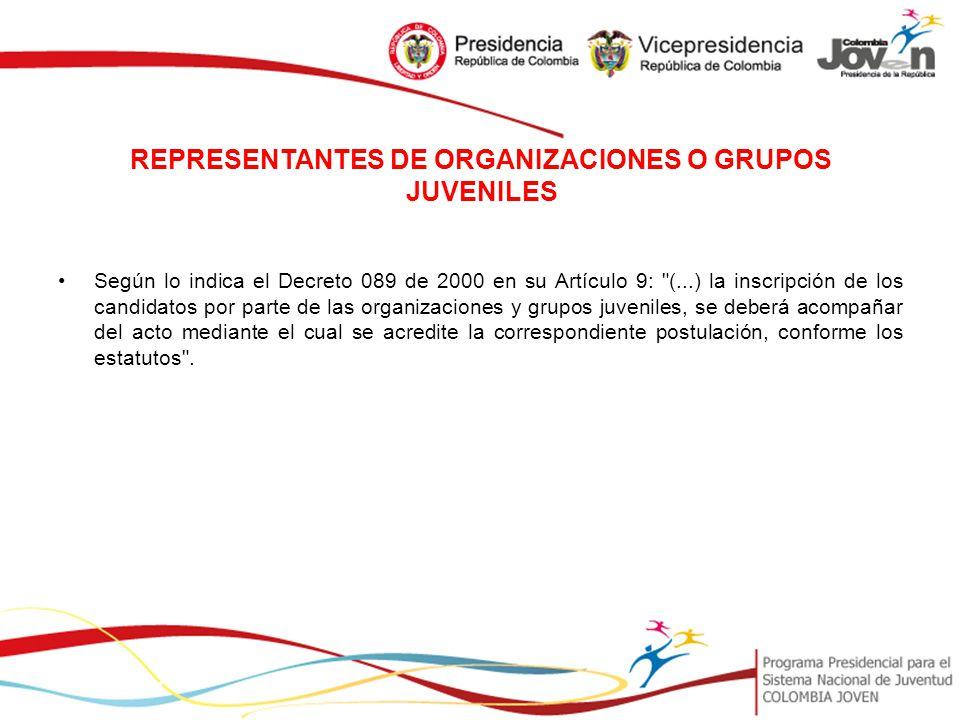 REPRESENTANTES DE ORGANIZACIONES O GRUPOS JUVENILES
