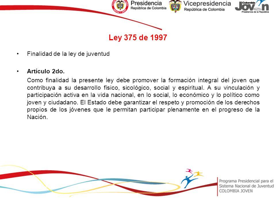 Ley 375 de 1997 Finalidad de la ley de juventud Artículo 2do.