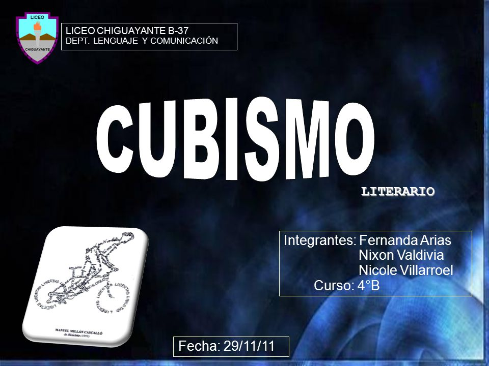 CUBISMO LITERARIO Integrantes: Fernanda Arias Nixon Valdivia