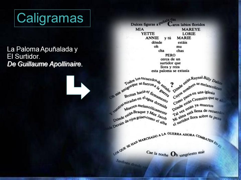 Caligramas La Paloma Apuñalada y El Surtidor.