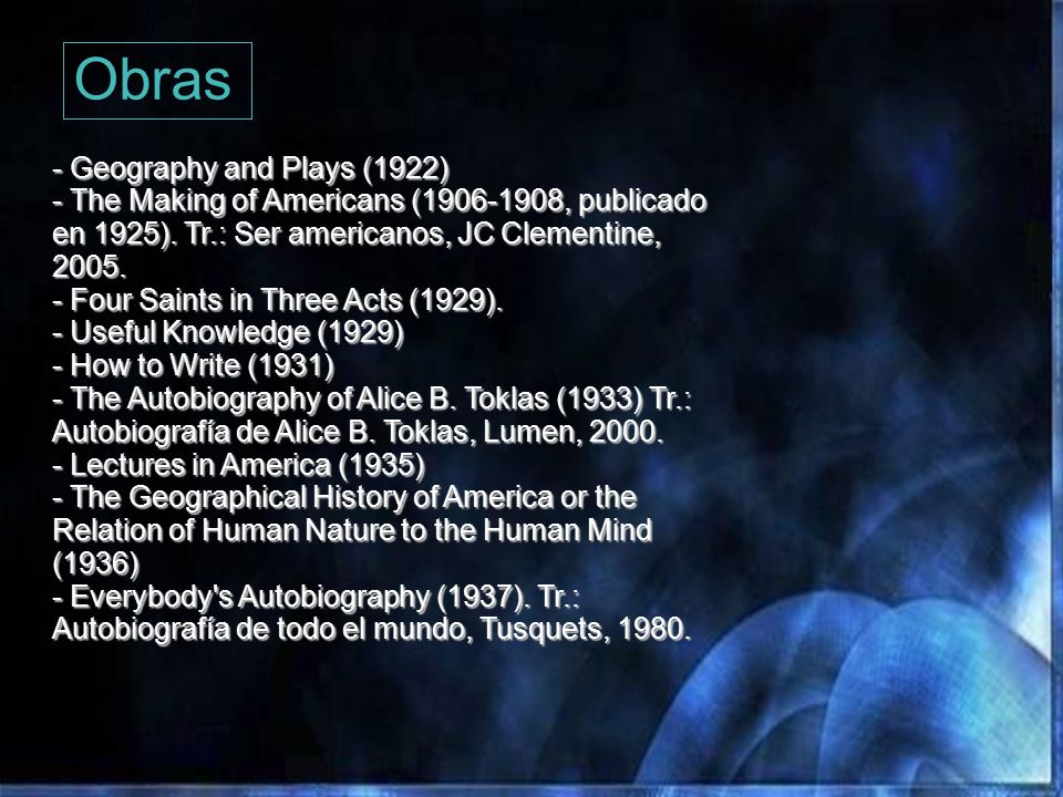 Obras - Geography and Plays (1922)