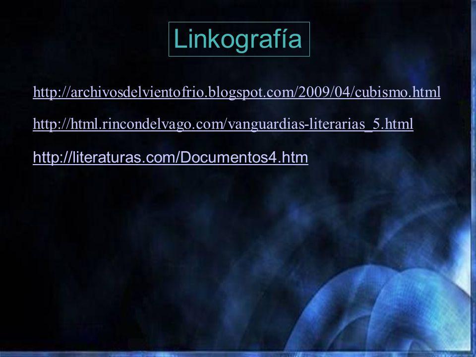 Linkografía http://archivosdelvientofrio.blogspot.com/2009/04/cubismo.html. http://html.rincondelvago.com/vanguardias-literarias_5.html.