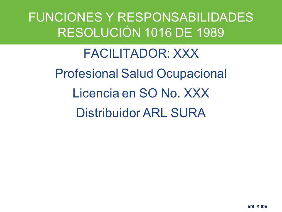 FUNCIONES Y RESPONSABILIDADES RESOLUCIÓN 1016 DE 1989