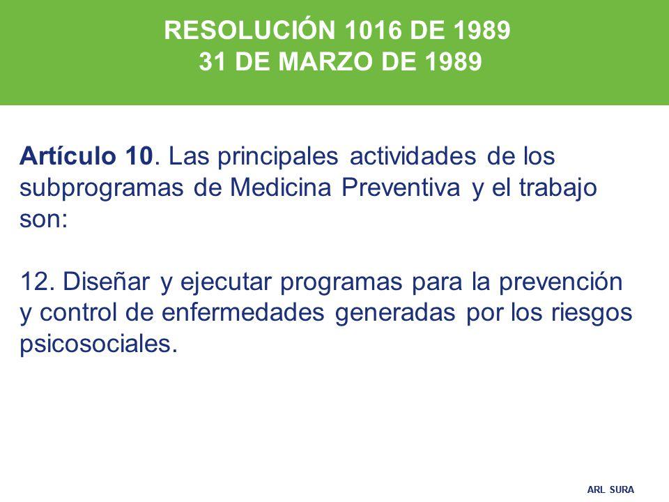 RESOLUCIÓN 1016 DE 1989 31 DE MARZO DE 1989. Artículo 10. Las principales actividades de los subprogramas de Medicina Preventiva y el trabajo son:
