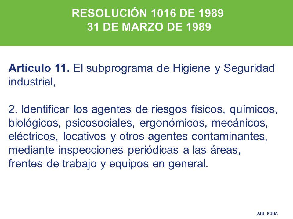 RESOLUCIÓN 1016 DE 1989 31 DE MARZO DE 1989. Artículo 11. El subprograma de Higiene y Seguridad industrial,