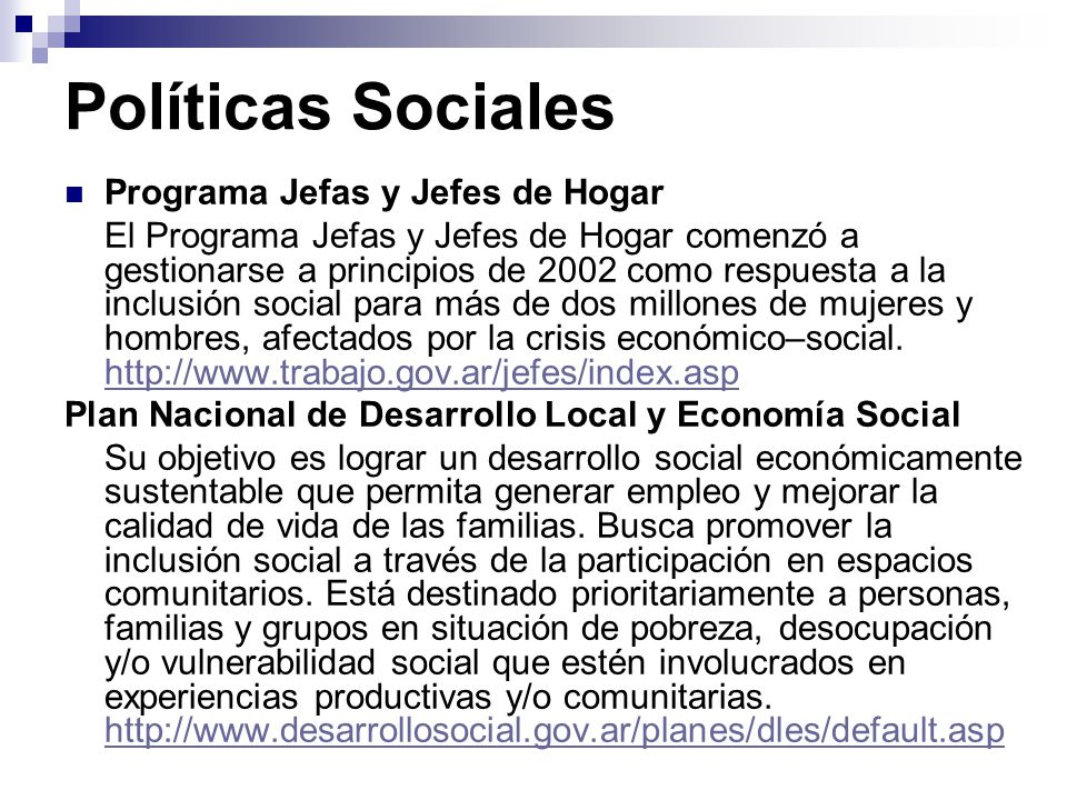 Políticas Sociales Programa Jefas y Jefes de Hogar