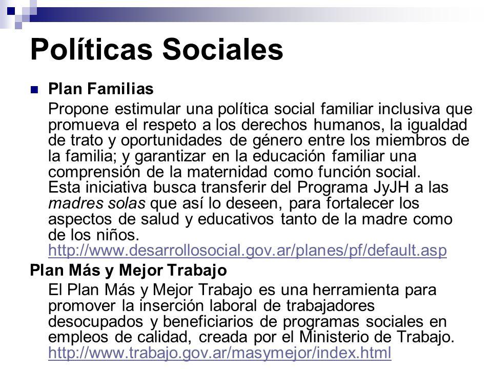 Políticas Sociales Plan Familias