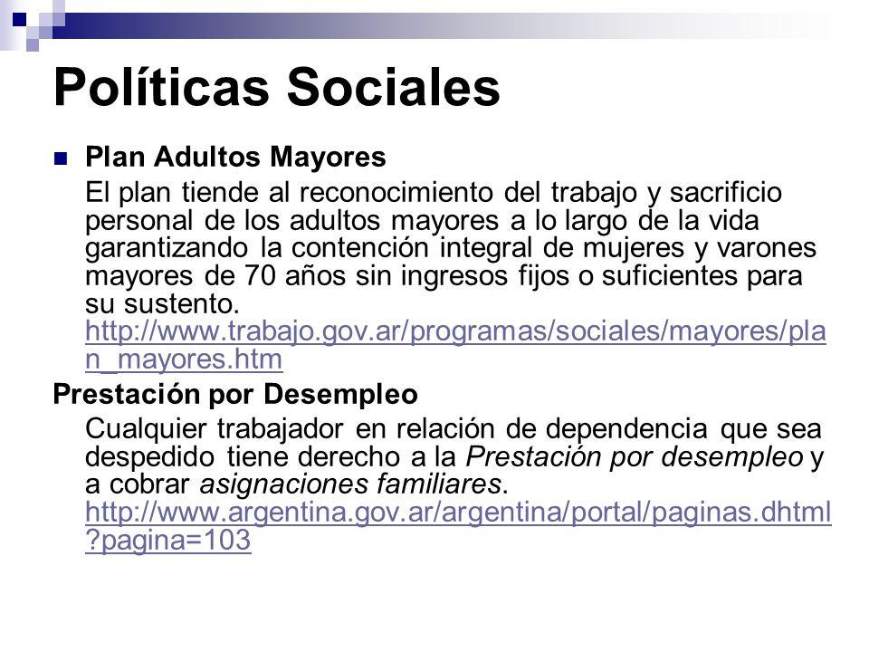 Políticas Sociales Plan Adultos Mayores