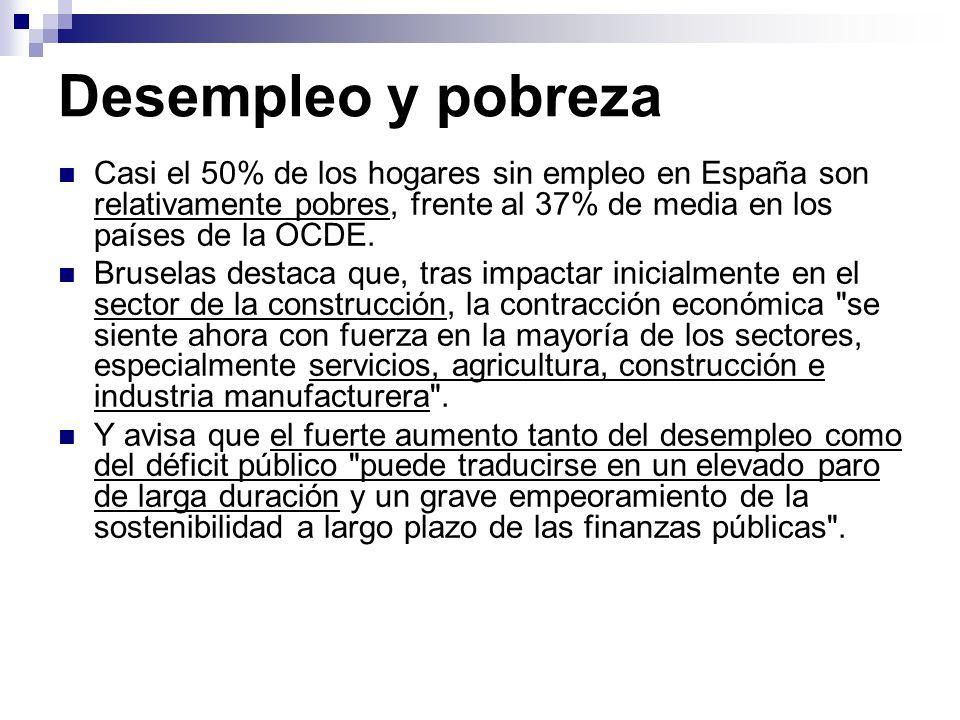 Desempleo y pobreza Casi el 50% de los hogares sin empleo en España son relativamente pobres, frente al 37% de media en los países de la OCDE.
