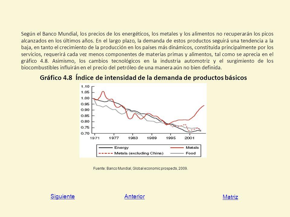 Gráfico 4.8 Índice de intensidad de la demanda de productos básicos