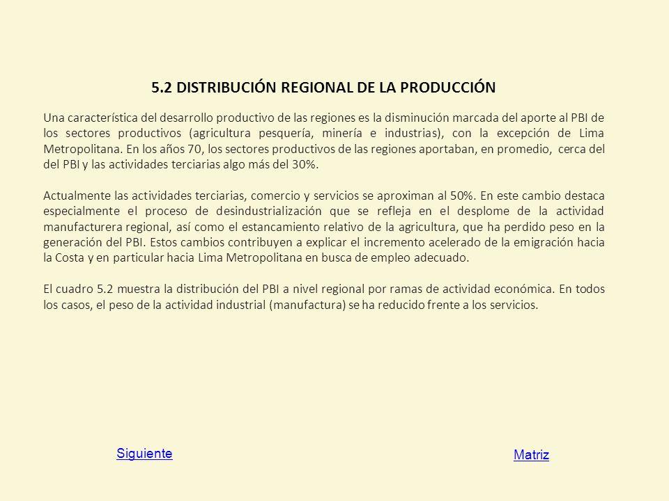 5.2 DISTRIBUCIÓN REGIONAL DE LA PRODUCCIÓN