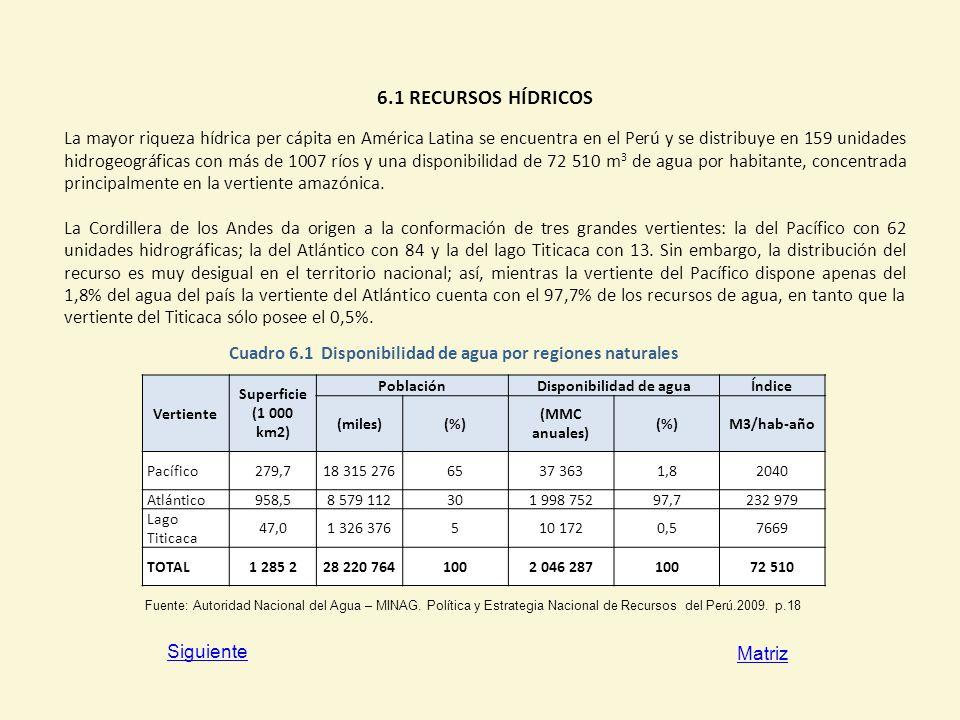 6.1 RECURSOS HÍDRICOS