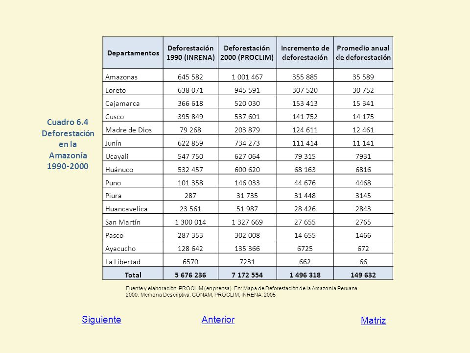 Cuadro 6.4 Deforestación en la Amazonía 1990-2000