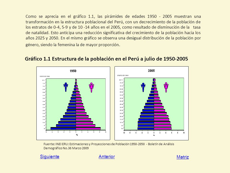Gráfico 1.1 Estructura de la población en el Perú a julio de 1950-2005