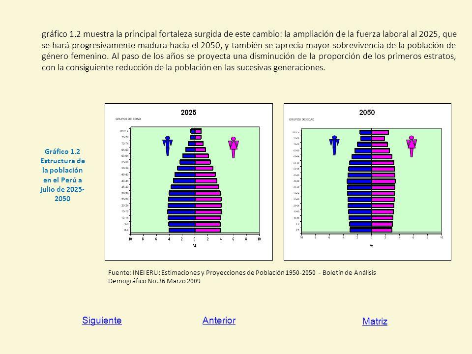 Gráfico 1.2 Estructura de la población en el Perú a julio de 2025-2050