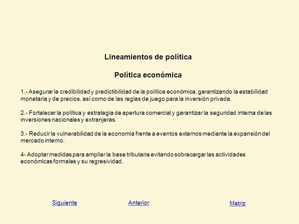 Lineamientos de política