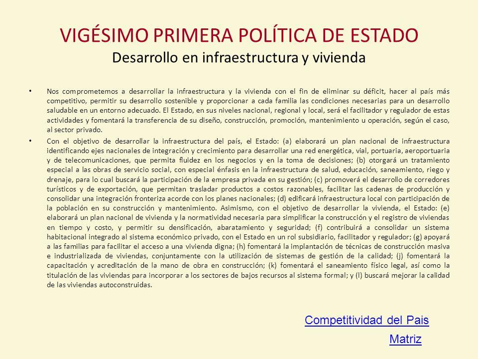 VIGÉSIMO PRIMERA POLÍTICA DE ESTADO Desarrollo en infraestructura y vivienda