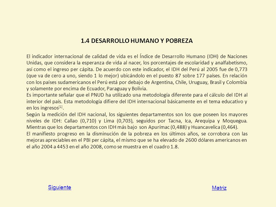1.4 DESARROLLO HUMANO Y POBREZA