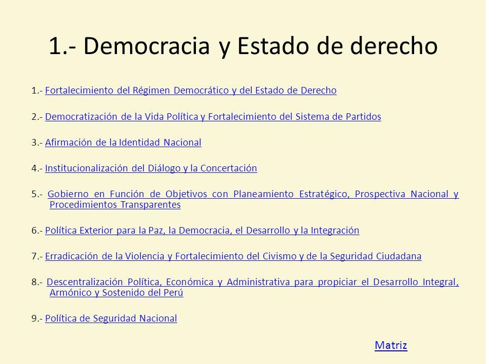 1.- Democracia y Estado de derecho
