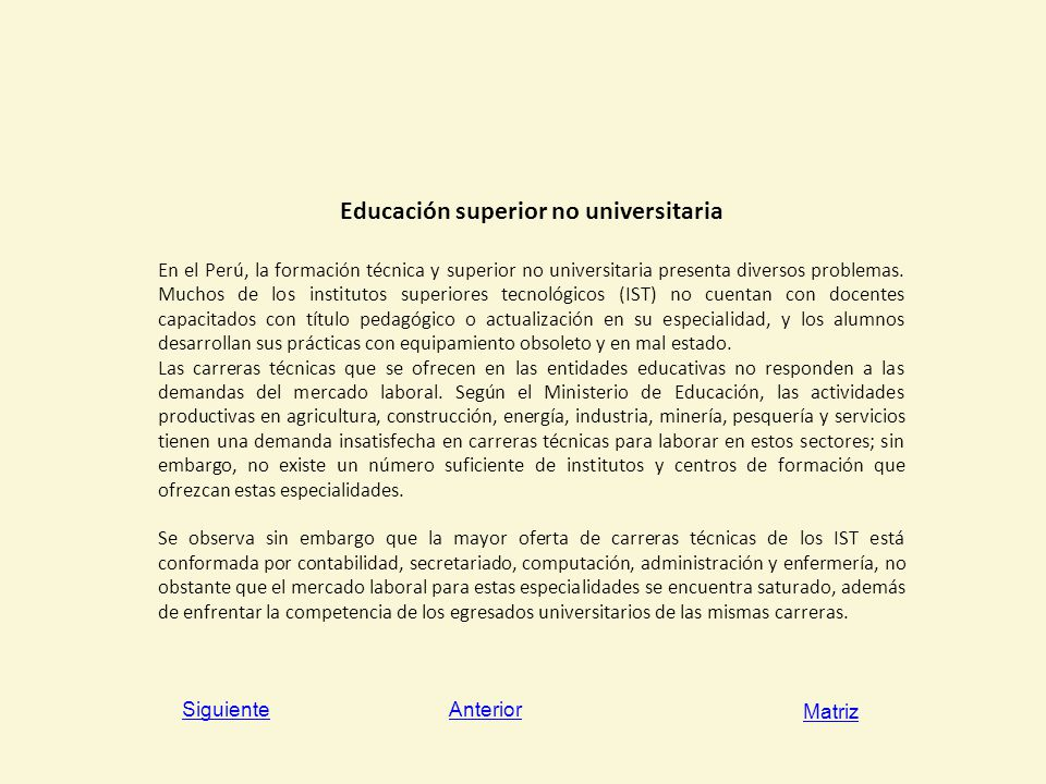 Educación superior no universitaria