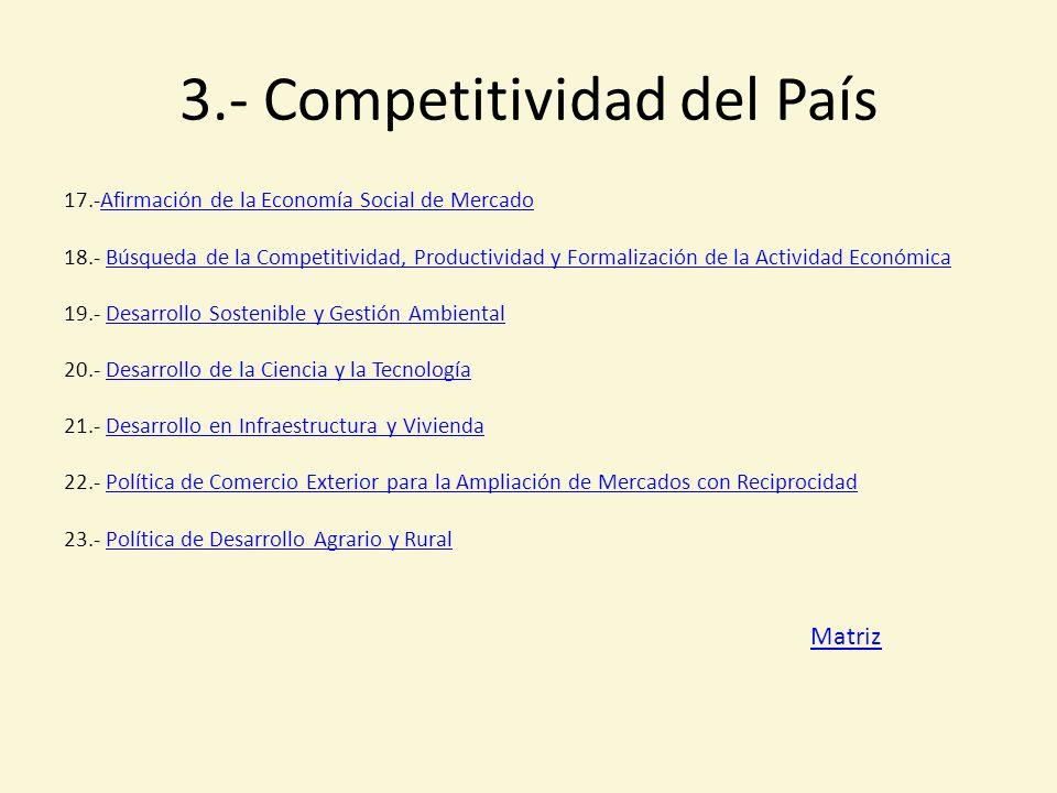 3.- Competitividad del País