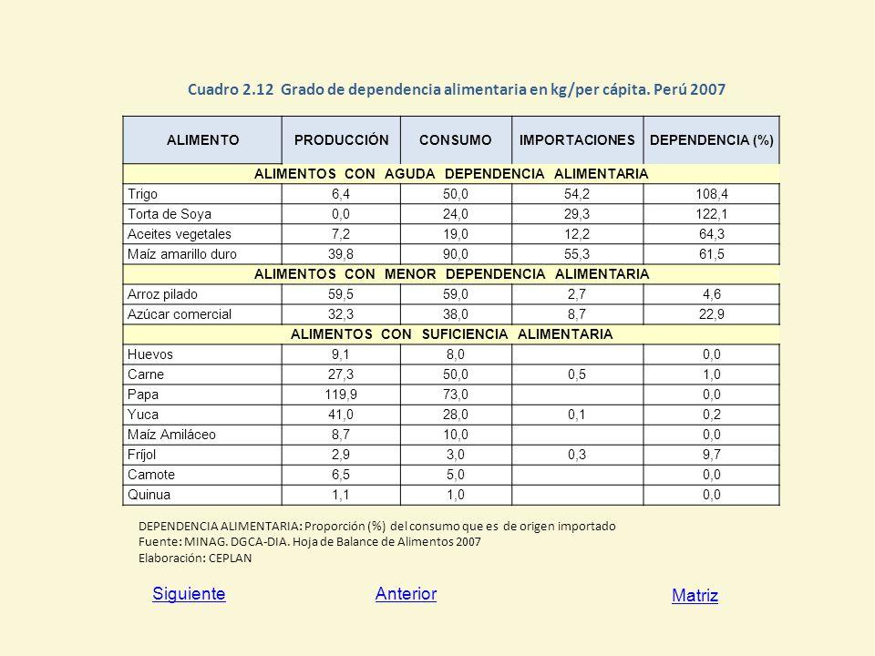 Cuadro 2. 12 Grado de dependencia alimentaria en kg/per cápita