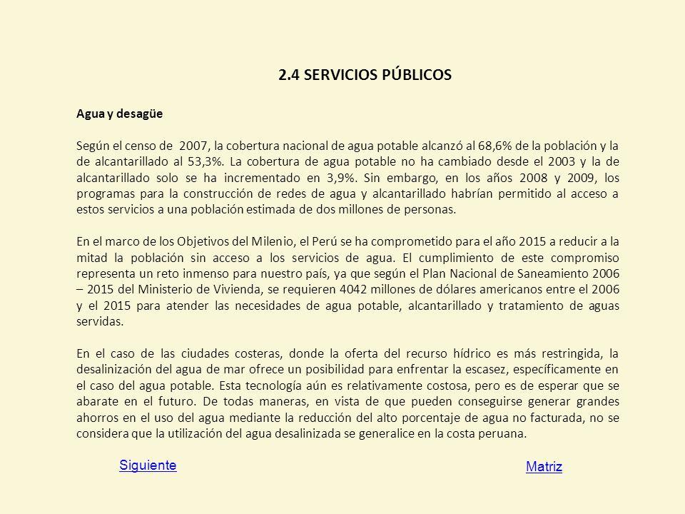 2.4 SERVICIOS PÚBLICOS Agua y desagüe