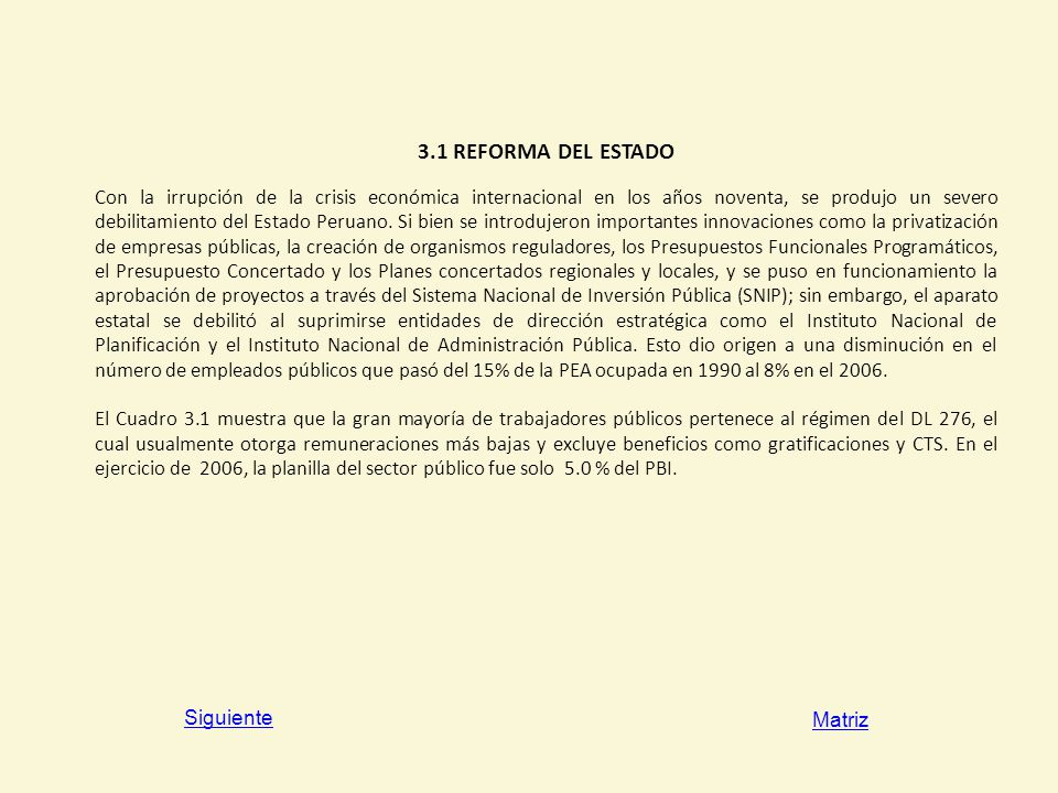 3.1 REFORMA DEL ESTADO