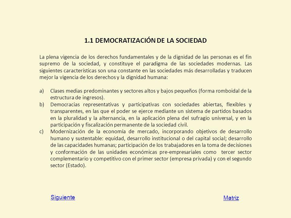 1.1 DEMOCRATIZACIÓN DE LA SOCIEDAD