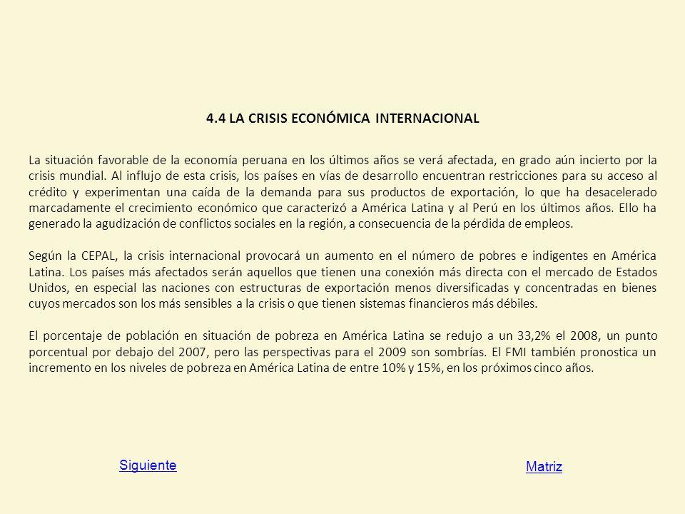 4.4 LA CRISIS ECONÓMICA INTERNACIONAL