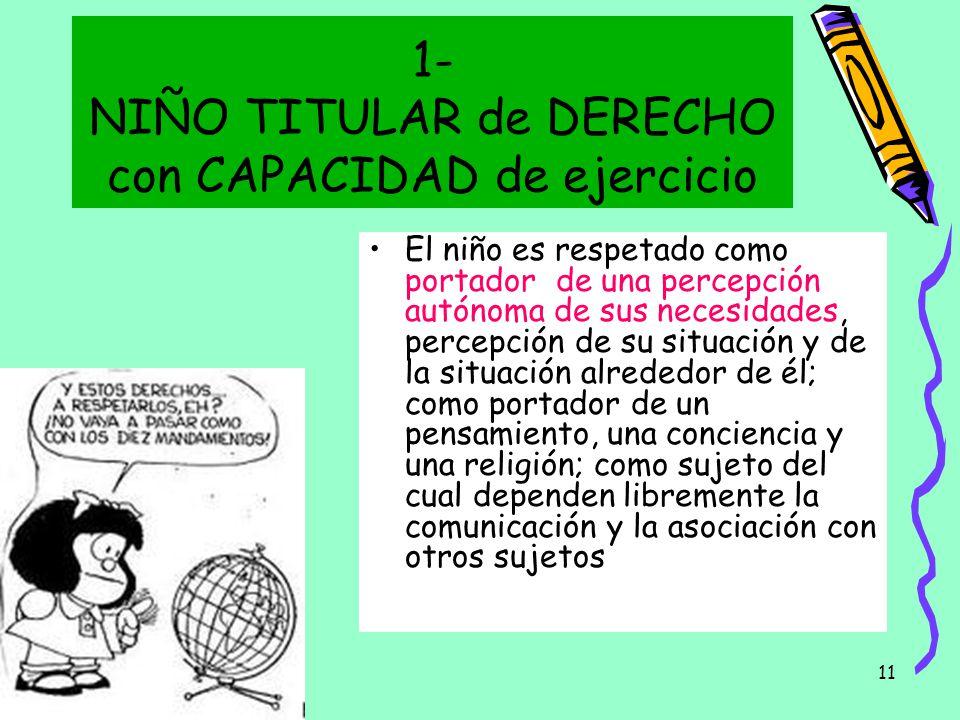 1- NIÑO TITULAR de DERECHO con CAPACIDAD de ejercicio